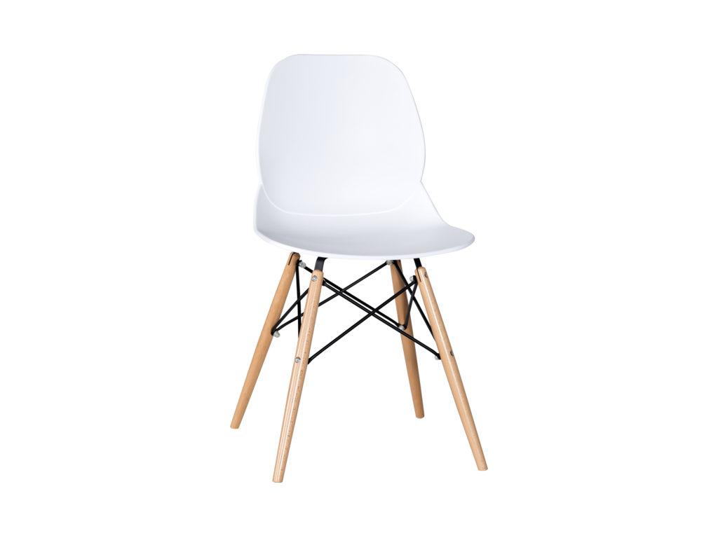 Billiga köksstolar - snygg och populär vit billig köksstol - plast sits underrede i trä och metall.